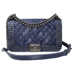 Chanel Faded Leather and Studded Medium Boy Flap Bag