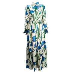 1960s George Halley New York Ivory and Blue Floral Silk Dress