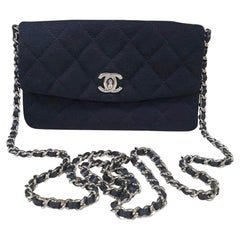 Chanel Black Cloth Quilted Flap Bag