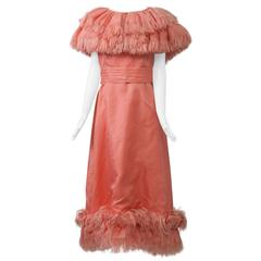 1960s Peach Evening Ensemble