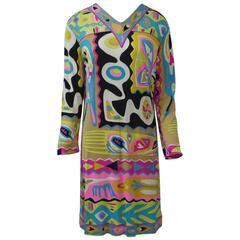 Pucci c. 1970 Abstract Print Dress