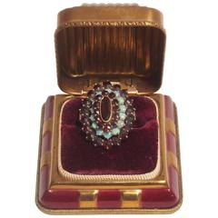 Victorian 18K Gold Garnet and Opal Ring