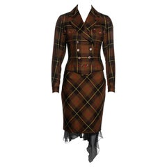 John Galliano brown tartan wool and silk jacket and skirt suit, fw 2001