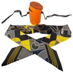 Hermès Epaulettes Silk Twilly Scarf Yellow ,Black , Grey & Brown In a Hemes Box