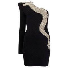 BALMAIN black viscose 2019 DRAGON ONE SHOULDER MINI Cocktail Dress 40 S