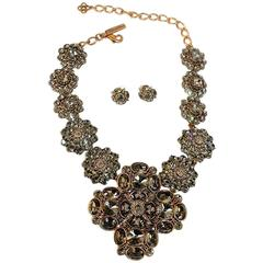 Oscar de la Renta Black Diamond Crystal Statement Necklace