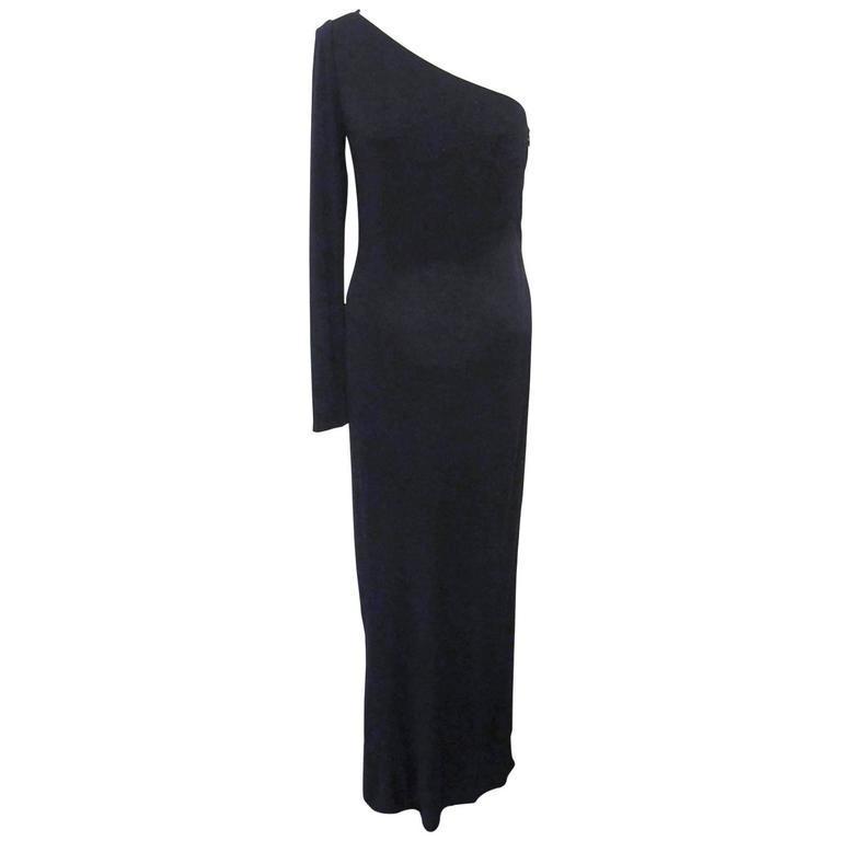 Ralph Lauren Collection Runway One Shoulder Black Evening Gown 1