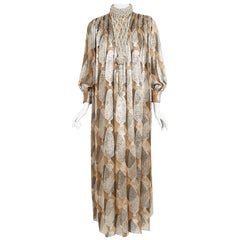 Vintage 1970 Galanos Couture Documented Metallic Silk Pleated Gown w/ Necklace