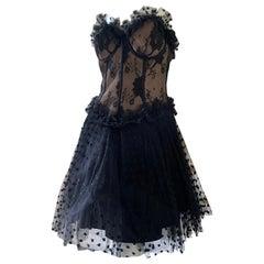Lillie Rubin Vintage Pointe d'Esprit Lace Ballerina Dress with Corset