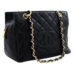 CHANEL Caviar Chain Shoulder Shopping Tote Bag Black Quilted