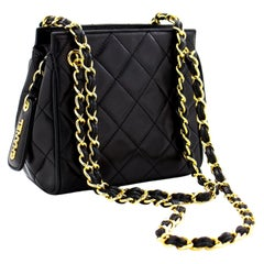 CHANEL Mini Small Double Chain Shoulder Bag Black Quilted Lambskin
