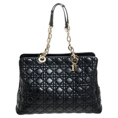 Dior Black Cannage Leather Soft Lady Dior Shopping Tote