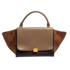 Celine Tri Color Leather and Nubuck Medium Trapeze Bag