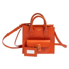 Balenciaga Orange Leather Mini Padlock All Afternoon Tote