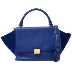 Céline Blue Suede and Leather Mini Trapeze Top Handle Bag