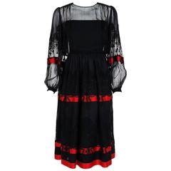 1990's Valentino Couture Black Embroidered Chiffon & Magenta Silk Peasant Dress