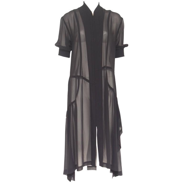 Comme des Garçons Sheer Black Asymmetrical Panel Zipper ...