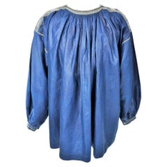 French Blaude or Party Blouse In Glazed Linen Dyed Indigo Normandy 19th Century