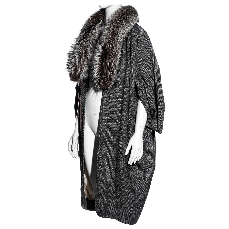 Christian Dior by John Galliano grey Donegal tweed and fox fur coat, fw 1998