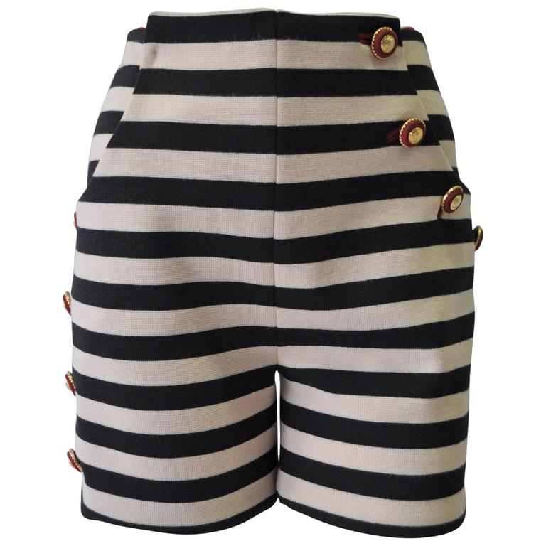 Very Important Atelier Versace Nautical Striped Shorts For Sale