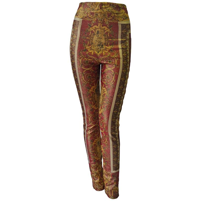 Iconic Gianni Versace Couture Baroque Printed Evening Leggings 1