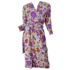 1980s Yves Saint Laurent YSL Size 44 / 12 Flower Logo Print Silk 80s Wrap Dress