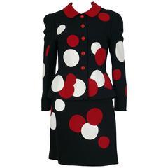 Moschino Vintage Black Polka Dot Skirt Suit