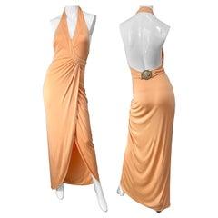 Versace S/S 2005 Runway Peach Salmon Silk Jersey Halter Gown Evening Dress