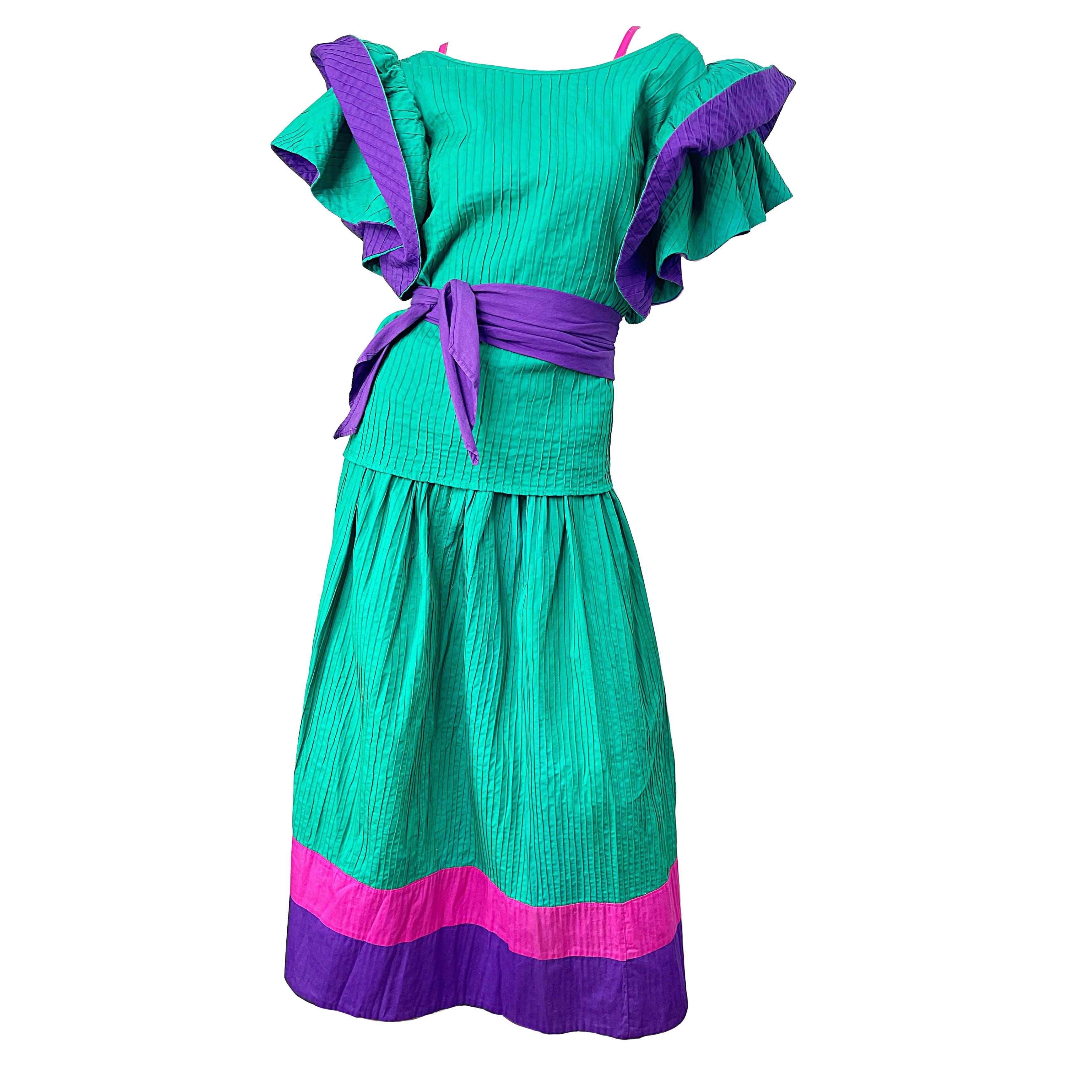 1970s Tachi Castillo 4 Piece Green Purple Pink Cotton Vintage 70s Dress Ensemble