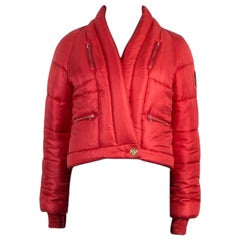 CHANEL red silk PARIS MOSCOW Puffer Down Jacket 36 XS