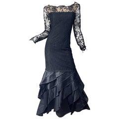 Vintage Bill Blass Size 10 12 Black Chantilly Silk Satin Lace 1990s Evening Gown