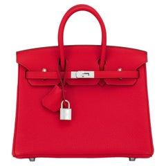 Hermes Birkin 25 Rouge Casaque Verso Bag Red RARE Limited Edition Y Stamp, 2020