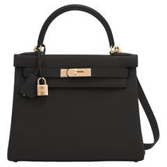 Hermes Kelly 28cm Black Togo Gold Shoulder Bag Z Stamp, 2021