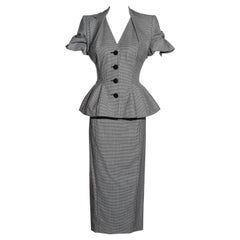 John Galliano houndstooth checked wool skirt suit, ss 1995