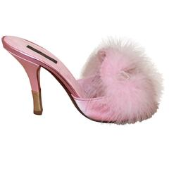 Louis Vuitton Pink Silk Heels w/ Pink Ostrich Feather & Velvet Bow - 38