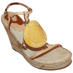 Louis Vuitton Beige Leather Raffia Wedges with Yellow Logo Plaque - 36.5