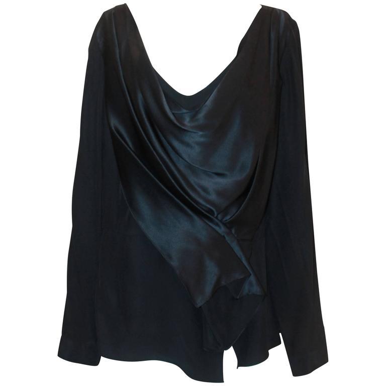 Oscar de la Renta Navy Silk Long Sleeve Blouse - 16 For Sale