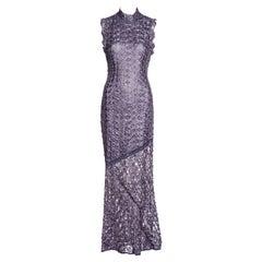John Galliano purple ribbon crochet bias-cut maxi dress, fw 2001