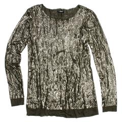 Balmain Gold Metal Sequin Top