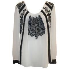 Oscar de la Renta Black & White Silk Peasant Top w/ Lace-Like Embroidery - 8