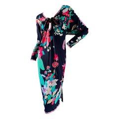 Leonard Paris Vintage 80's Cotton Jersey Floral Tie Front Keyhole Dress