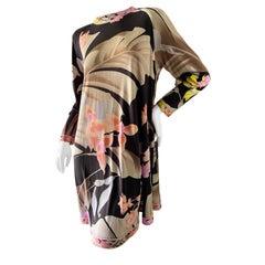Leonard Paris Vintage 80's Silk Jersey Floral Mini Swing Dress