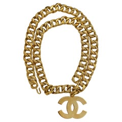 1990s Chanel Jumbo Gold Toned Chain CC Necklace Belt