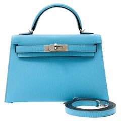 Hermès Robin's Egg Blue Chevre 20 cm Mini Kelly