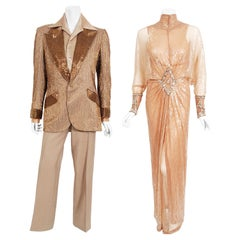 Vintage 1976 Sonny & Cher Documented Custom-Made Bob Mackie Sequin Gown Suit Set