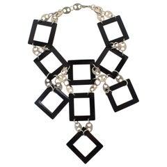 Paco Rabanne Space Age Futuristic Chrome and Black Enamel Choker Necklace