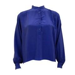 1980s Yves Saint Laurent Rive Gauche Blue Silk Henley Shirt