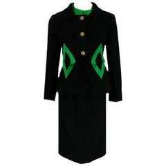 Burke-Amey Black Wool and Green Silk Applique Mod Dress Suit Ensemble, 1960s