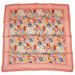 Bold Multi-Floral Print with Coral Border Silk Scarf