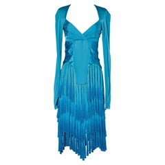Silk blue dress with franges Tom Ford for Gucci